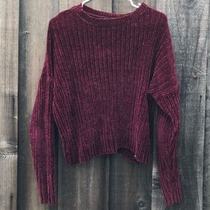 Forever 21 burgundy cropped knit chenille sweater
